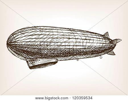 Antique dirigible hand drawn sketch vector