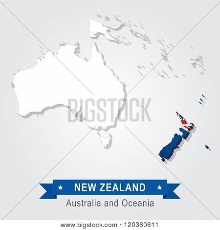 New Zealand. Australia and Oceania map.
