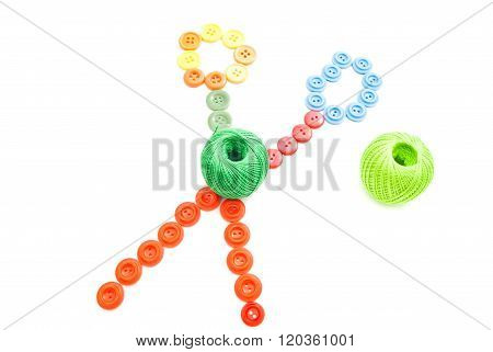 Thread And Colorful Buttons Scissors