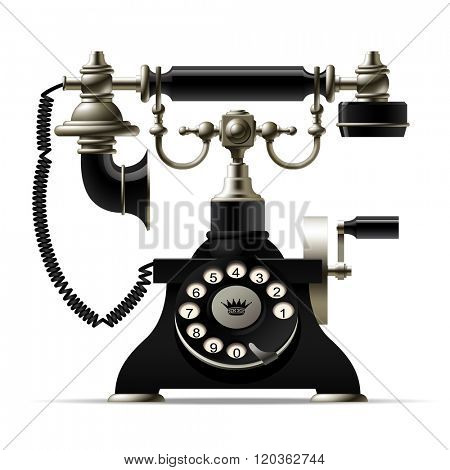 Old telephone isolated on white. Retro rotary dial black phone. Contain the Clipping Path