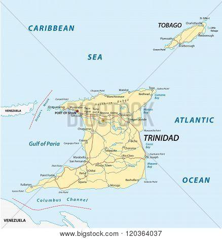 Trinidad And Tobago Road Map