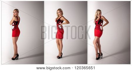 Beautiful Blonde Woman  In Red Dress