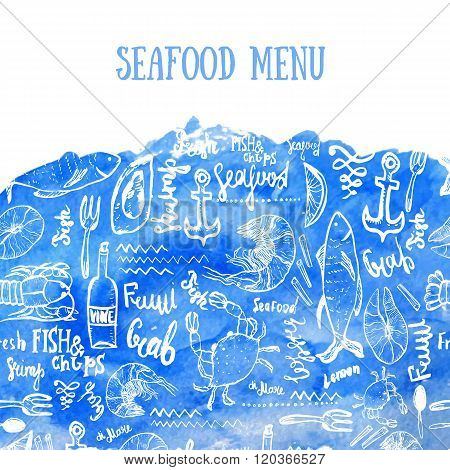 Vector seafood background. Vector seafood background on blue watercolor in modern style for menu des