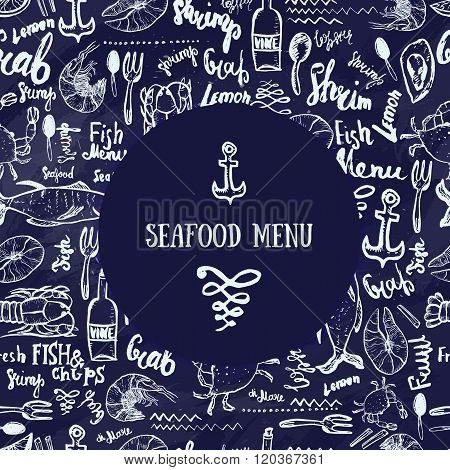 Vector vintage seafood menu design. Hand seafood menu banner. Great for seafood menu flyer, card, se