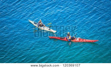 people kayaking on Cyprus lake at  Bruce peninsula, Ontario