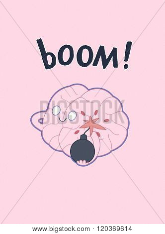 A vector outlined flat illustrated poster of a brain holding the bomb in its hands, the metaphor of patience, accompanied with a lettering Boom