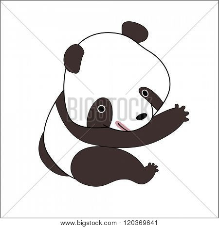 A vector illustration of a little panda bear.