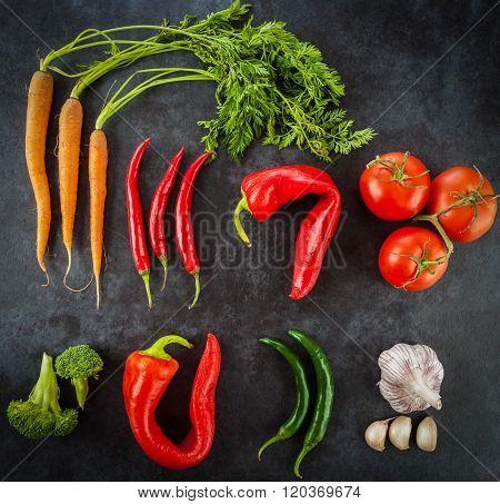 Raw Healthy Food Ingredients, Top View.
