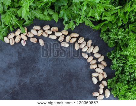 Parsley And Pistachios With Copy Space