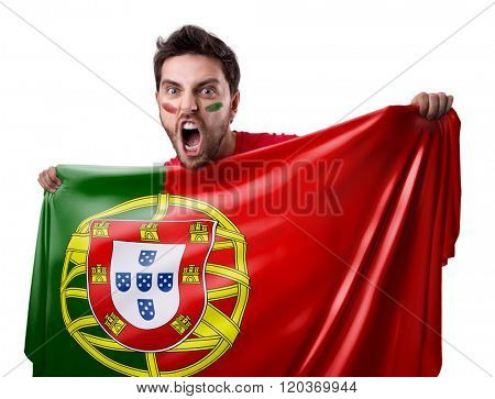 Fan holding the flag of Portugal on white background
