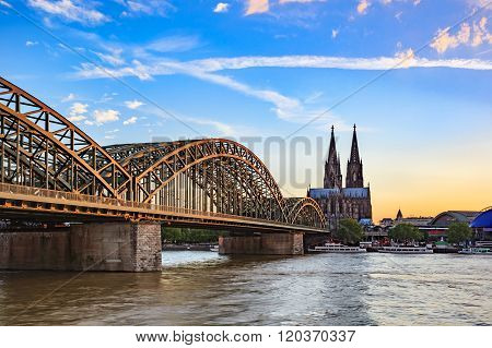 Cologne Cathedral And Hohenzollern Bridge , Cologne , Germany
