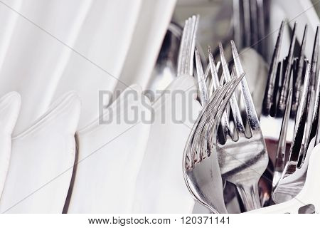 Macro Of Clean Dishes