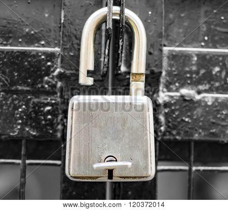 Unlocked Lock On The Gate