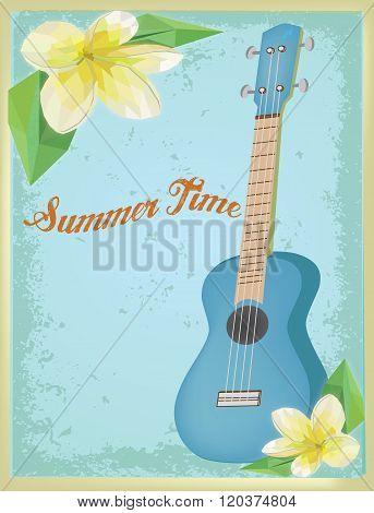 vintage ukulele on summer time poster