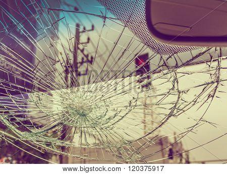 Broken Car Windshield.