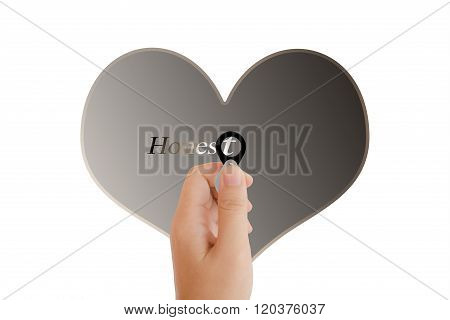 Isolated Hand With Lens And Text Honest With Heart Shape On White