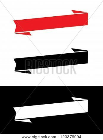 A set of vector banners and headliners in red, black and reverse
