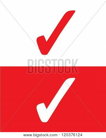 Vector positive check mark graphic in red and reverse