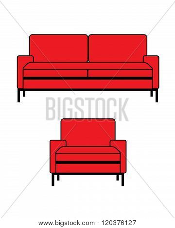 Modern Red Vector Sofa and Chair Set