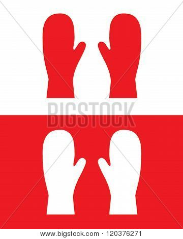 Vector set of red mittens in red and reverse
