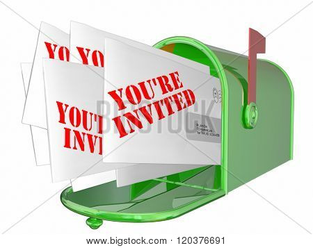 Youre Invited Envelopes Messages Mailbox Words