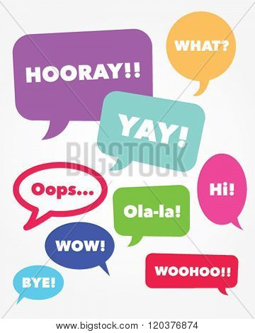A collection of vector speech bubbles with messaging