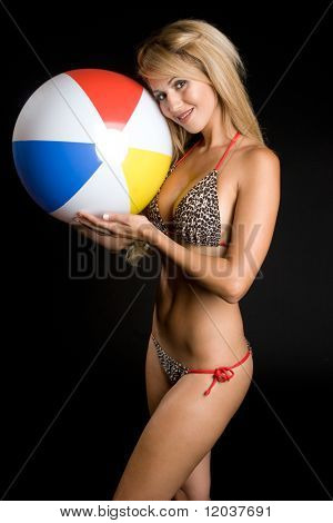 Sexy Bikini Girl Holding Beach Ball