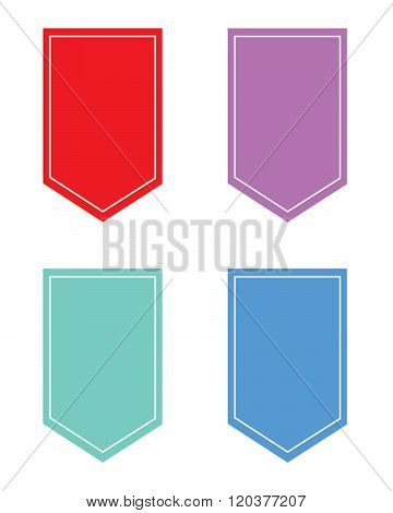 Colourful vector pennant, banner and frame set