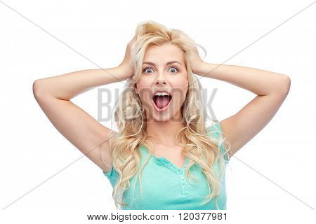 emotions, expressions, hairstyle and people concept - smiling young woman or teenage girl holding to her head or touching hair