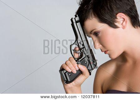 Sexy Spy Woman Holding Gun