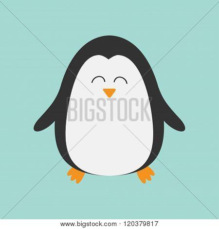 Penguin Smiling Face. Cute Cartoon Character. Arctic Animal Collection.  Baby Bird. Flat Design