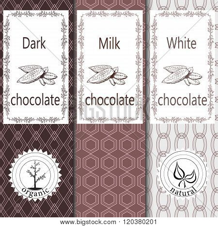 Vector set of design elements and seamless pattern for chocolate and cocoa packaging - labels and ba