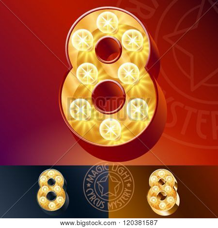 Fantastic vector  light up font with lamp. Number 8