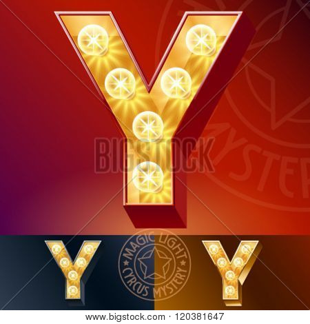 Fantastic vector  light up font with lamp. Letter Y