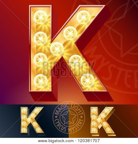 Fantastic vector  light up font with lamp. Letter K