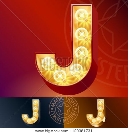 Fantastic vector  light up font with lamp. Letter J