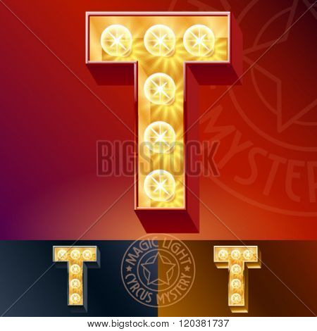 Fantastic vector  light up font with lamp. Letter T
