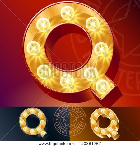 Fantastic vector  light up font with lamp. Letter Q