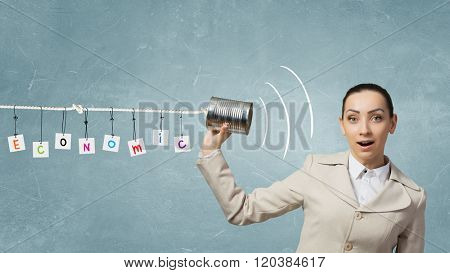 Woman using deaf phone