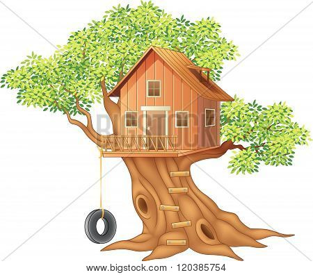 Beautiful tree house cartoon