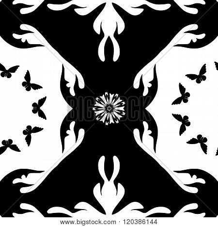 Monochromatic Pattern With Butterflies And Flowers