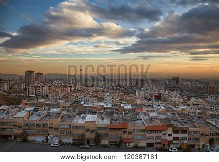 Tehran Skyline During Sunset With Dramatic Clouds