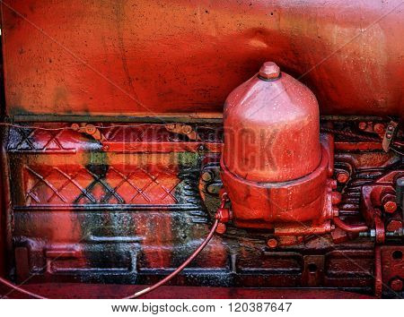 Old Red Tractor Engine
