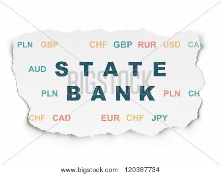 Currency concept: State Bank on Torn Paper background