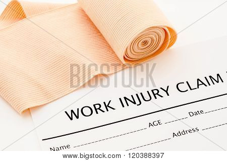 Work Injury Claim Form Showing Business Insurance Concept.