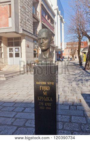 Monument To Gojko Kruska In Cetinje, Montenegro