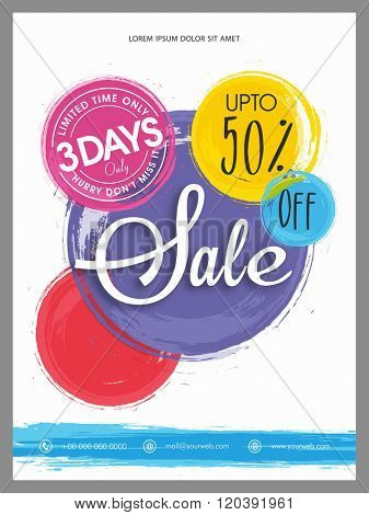 Stylish Sale Flyer, Banner or Pamphlet with flat 50% discount offer for 3 days only.