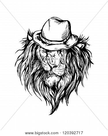 Vector hand drawn realistic lion in hat character.
