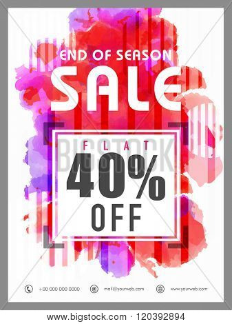 End of Season Sale Flyer, Banner or Pamphlet with flat 40% discount offer.