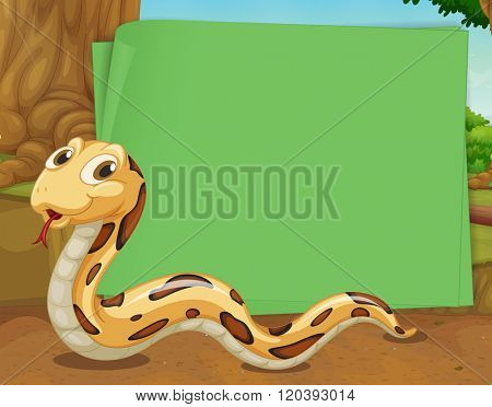 Border design with snake crawling illustration